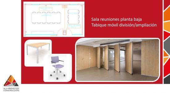 Sala reuniones planta baja Tabique móvil división/ampliación